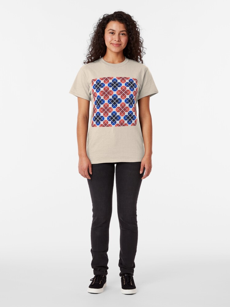 Alternate view of Geometric Pattern: Flower: Four Petal: Blue/Red Classic T-Shirt