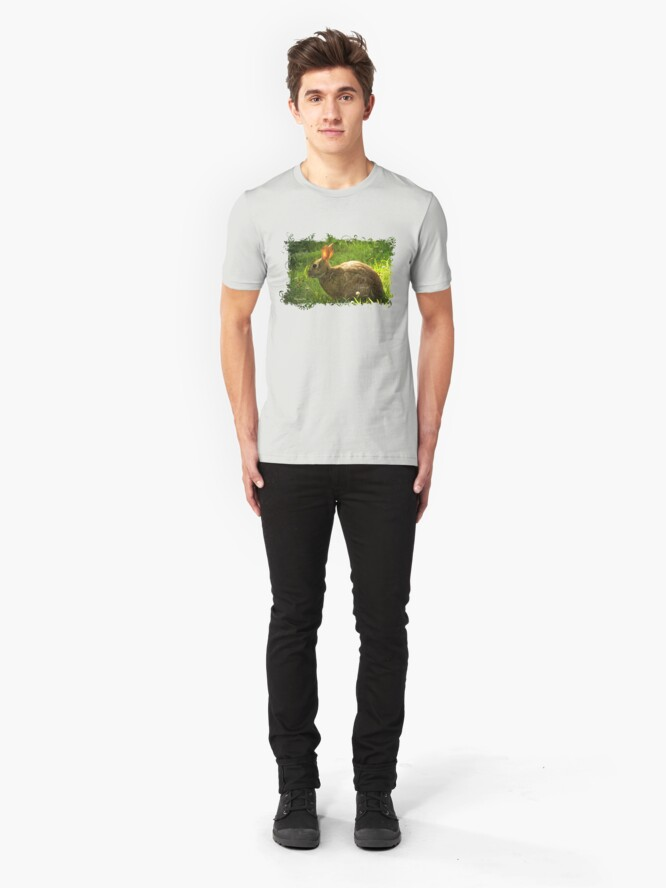 Alternate view of Wild Bunny ~ In a Patch of Clover Slim Fit T-Shirt