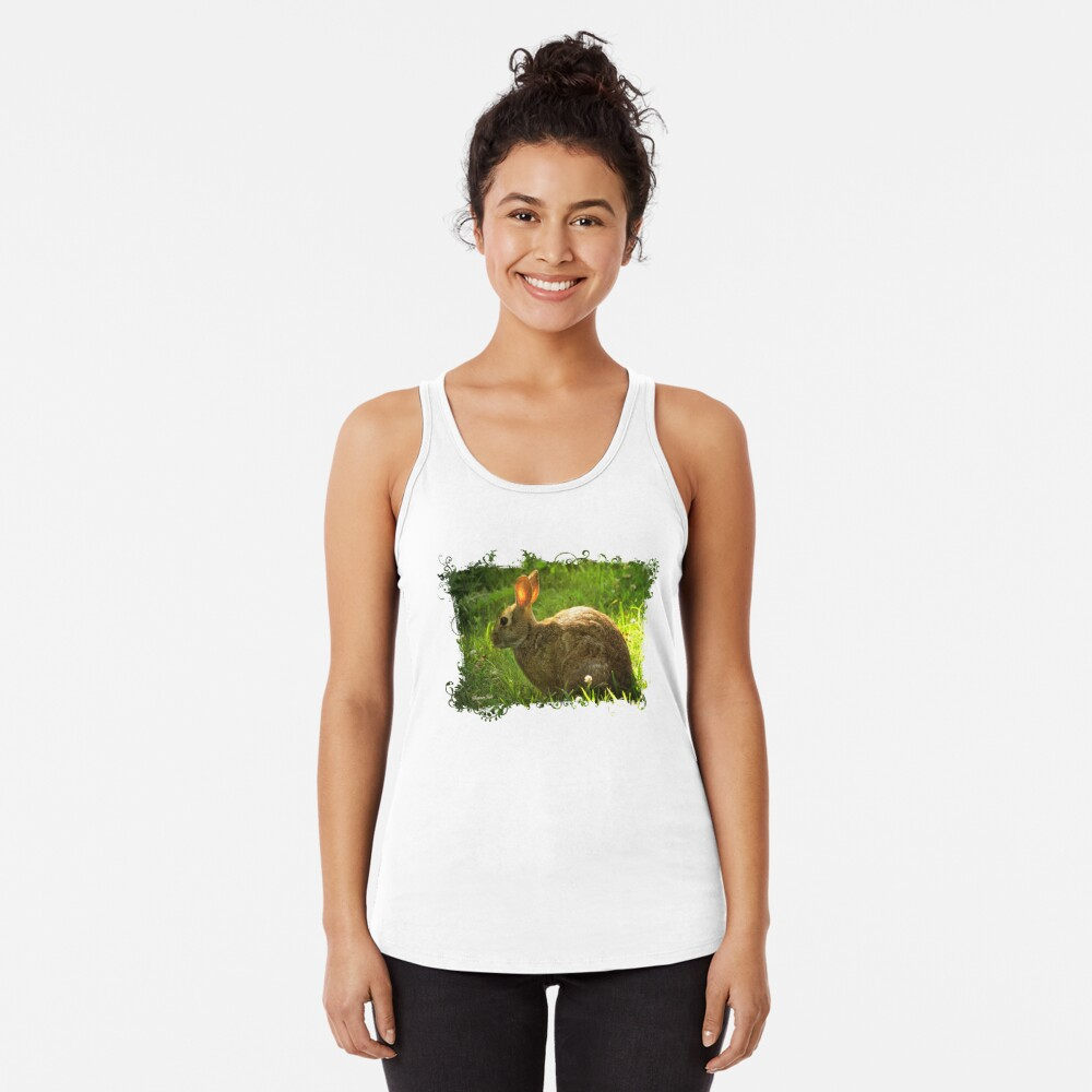 Wild Bunny ~ In a Patch of Clover Racerback Tank Top