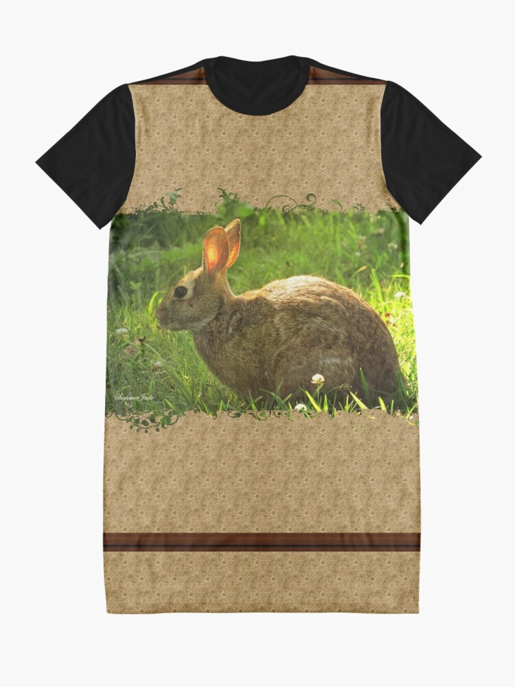 Alternate view of Wild Bunny ~ In a Patch of Clover Graphic T-Shirt Dress