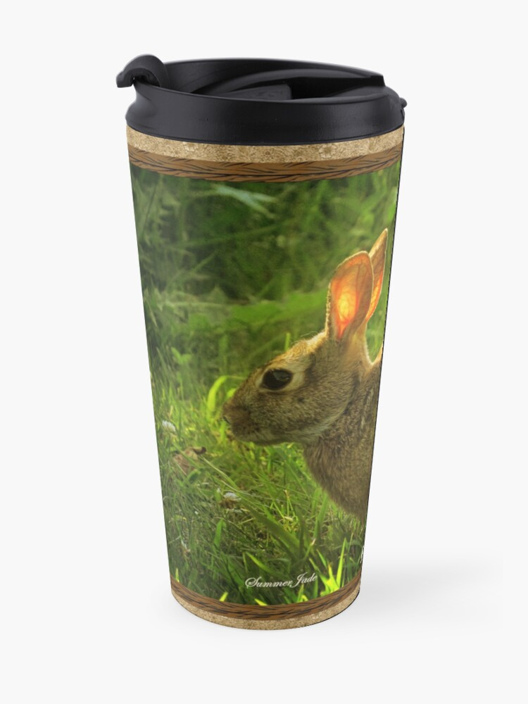 Alternate view of Wild Bunny ~ In a Patch of Clover Travel Mug