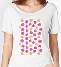 Gold Monstera Leaf Women's Relaxed Fit T-Shirt