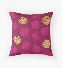 Gold Monstera Leaf Throw Pillow
