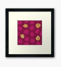 Gold Monstera Leaf Framed Print