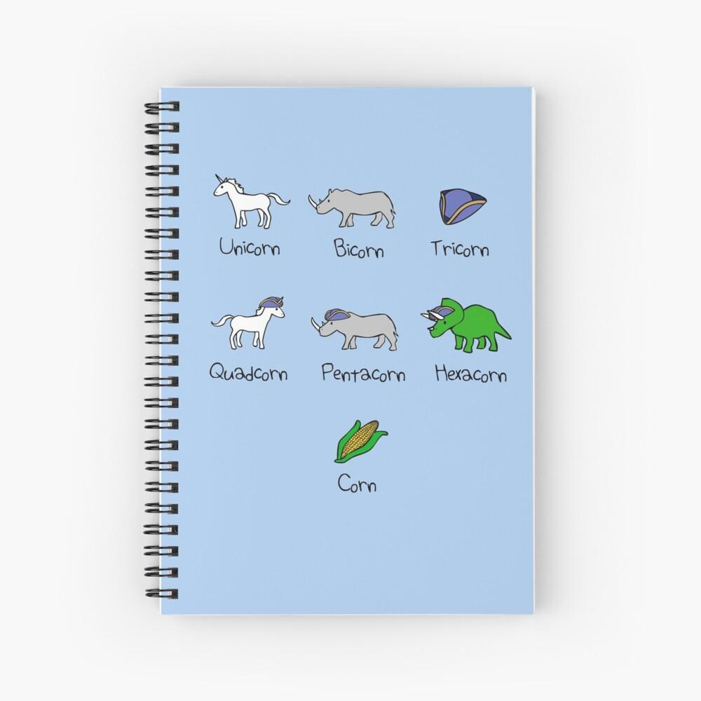 Unicornio, Bicornio, Tricornio, Quadcorn, Pentacorn, Hexacorn ... y Maíz Cuaderno de espiral
