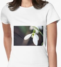 snowdrop flower macro spring season Women's Fitted T-Shirt