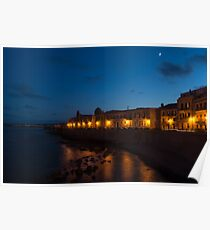 Syracuse Sicily Seaside Moonrise Poster