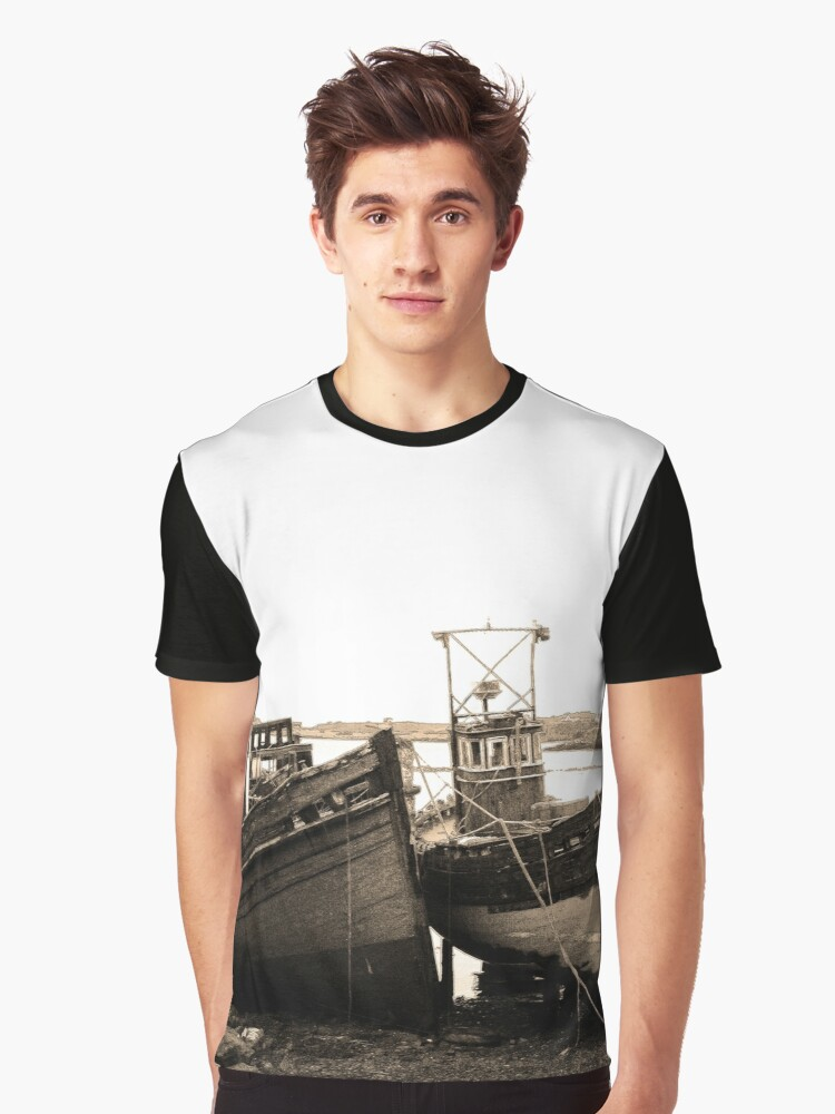 Old Boats Near Salen, Mull Graphic T-Shirt Front