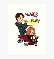 Mulder and Scully Art Print