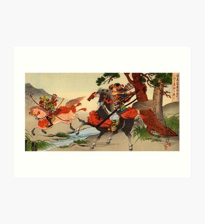 Samurai on horseback Art Print