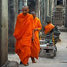 Monks in Angkor Wat, Cambodia by Bev Pascoe