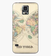 Vintage Map of The World (1872) Case/Skin for Samsung Galaxy
