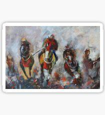 Oil Painting, Horses on Canvas, jockey, wall art Sticker