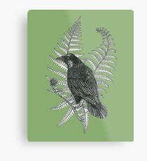 ink crow in a fern forest on dark green Metal Print