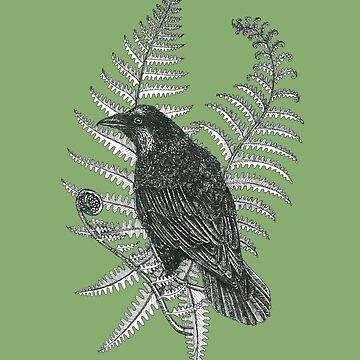ink crow in a fern forest on dark green by EllenLambrichts