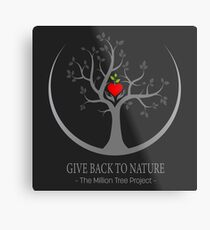 Give Back to Nature Logo - Dark Background Metal Print