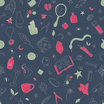 Hocus Pocus - Dark Teal & Pink by sixhours