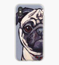 Pug Art, Cute pug painting iPhone Case