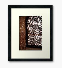 Light coming through the stone lattice at Humayun Tomb Framed Print