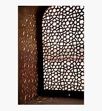 Light coming through the stone lattice at Humayun Tomb Photographic Print
