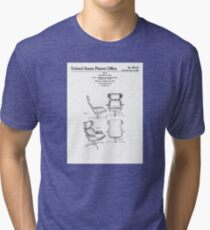 Iconic Eames Recliner/Lounger Lounge Chair Patent Drawings Tri-blend T-Shirt