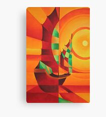 Cubist Junks on A Red Sea Canvas Print