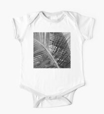 Black and white palm leaves One Piece - Short Sleeve