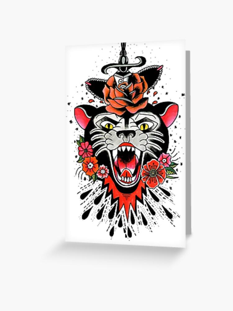 Jaguar Traditional American Tattoo Design Greeting Card By Abbeymcg
