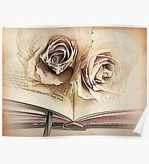 Roses on Book, Book Lovers Art A113 Poster