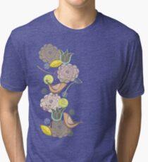 Pink Floral Potpourri Garden and Birds Tri-blend T-Shirt
