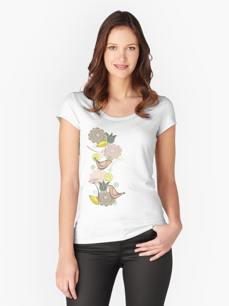 Pink Floral Potpourri Garden and Birds Women's Fitted Scoop T-Shirt Front