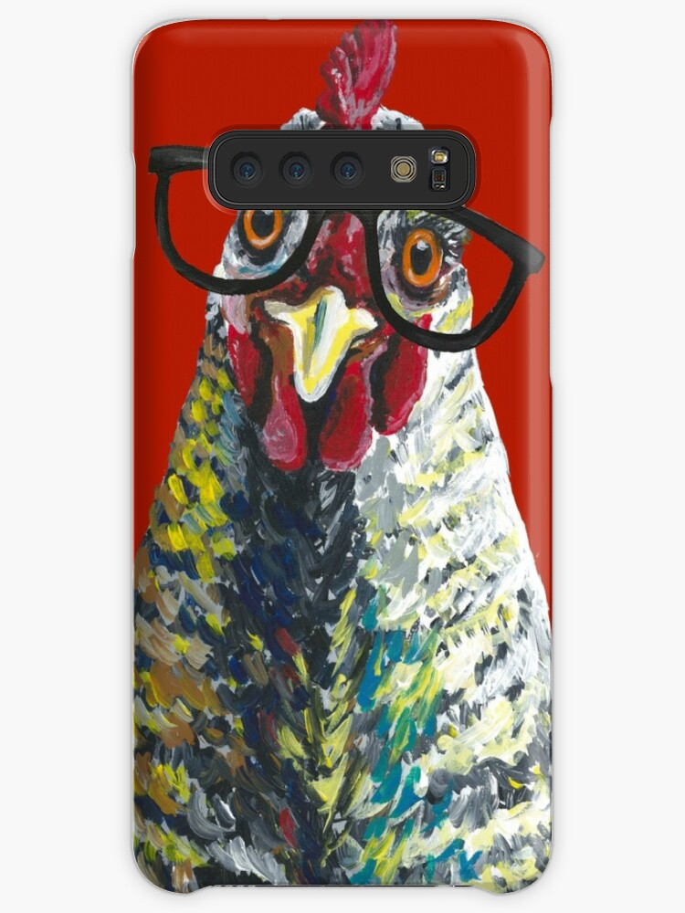 'Funny Chicken art, Chicken with glasses' Case/Skin for Samsung Galaxy by  leekellerart