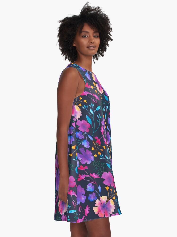Alternate view of Fluro Floral Watercolour Flower Pattern A-Line Dress
