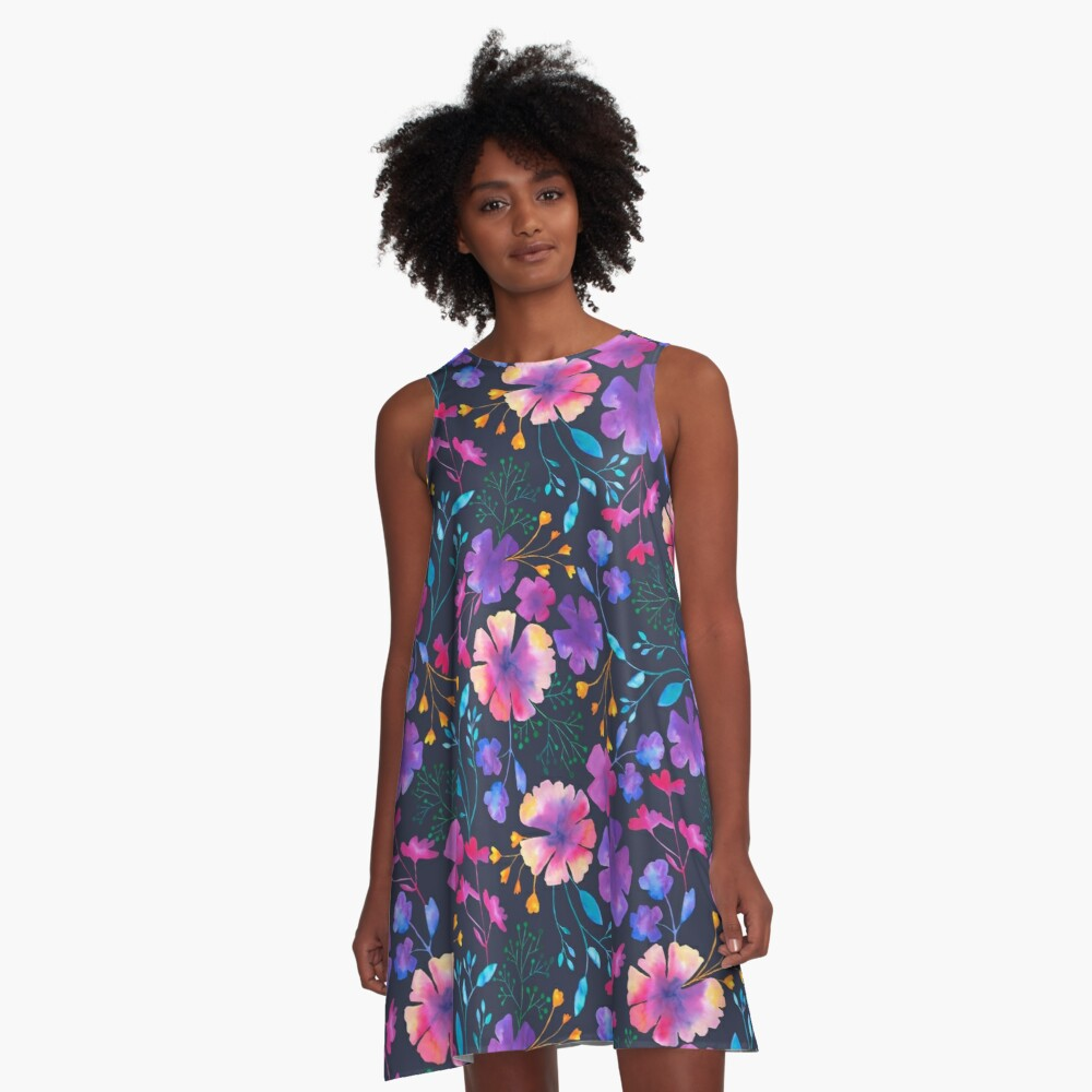 Fluro Floral Watercolour Flower Pattern A-Line Dress