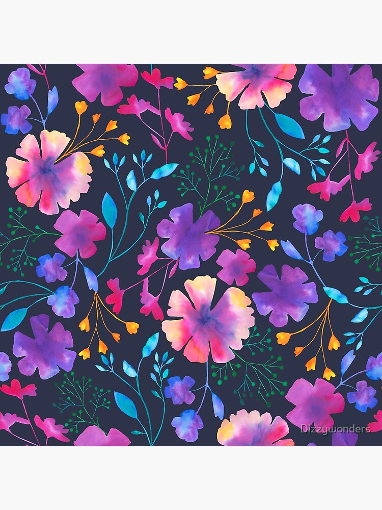 Fluro Floral Watercolour Flower Pattern by Dizzywonders