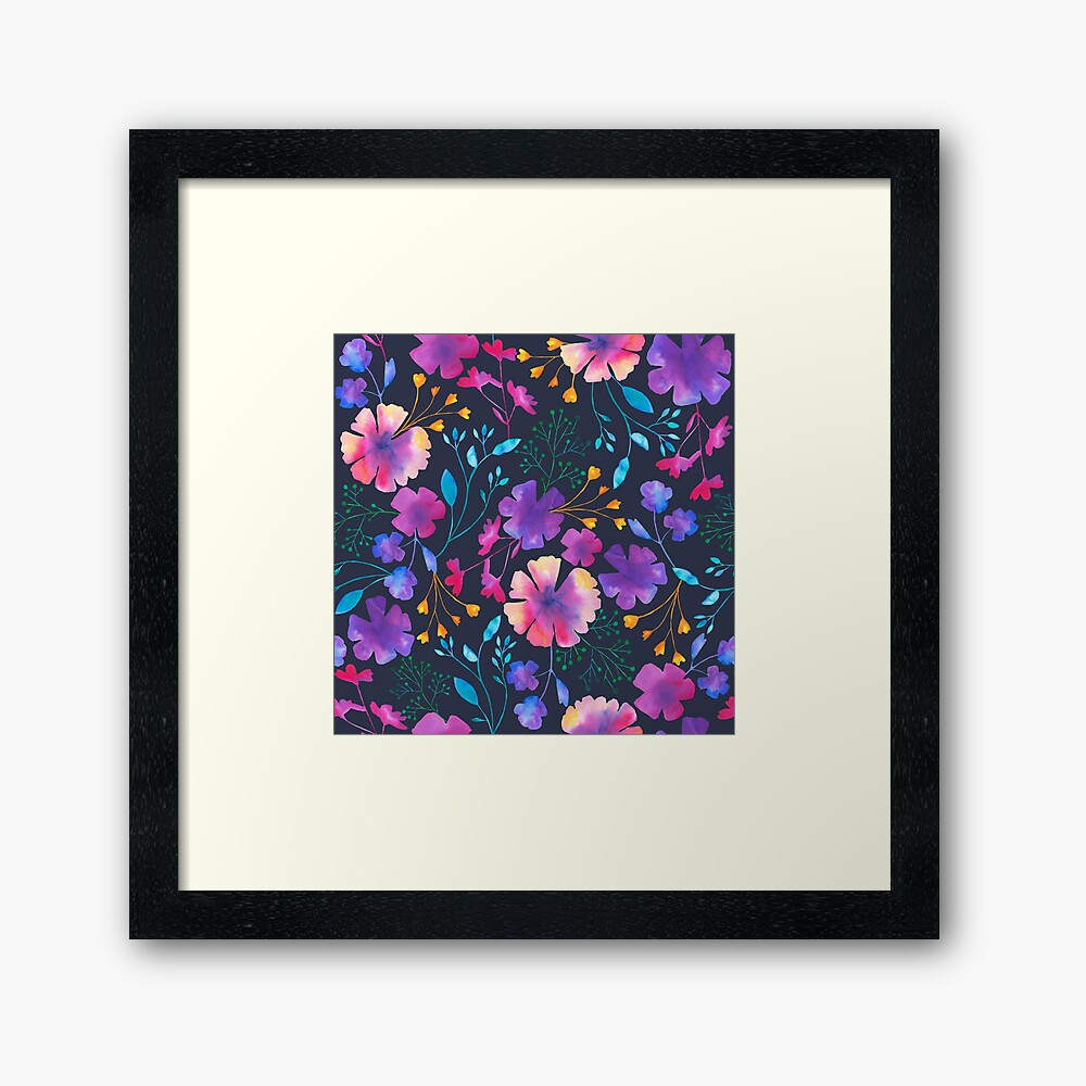 Fluro Floral Watercolour Flower Pattern Framed Art Print
