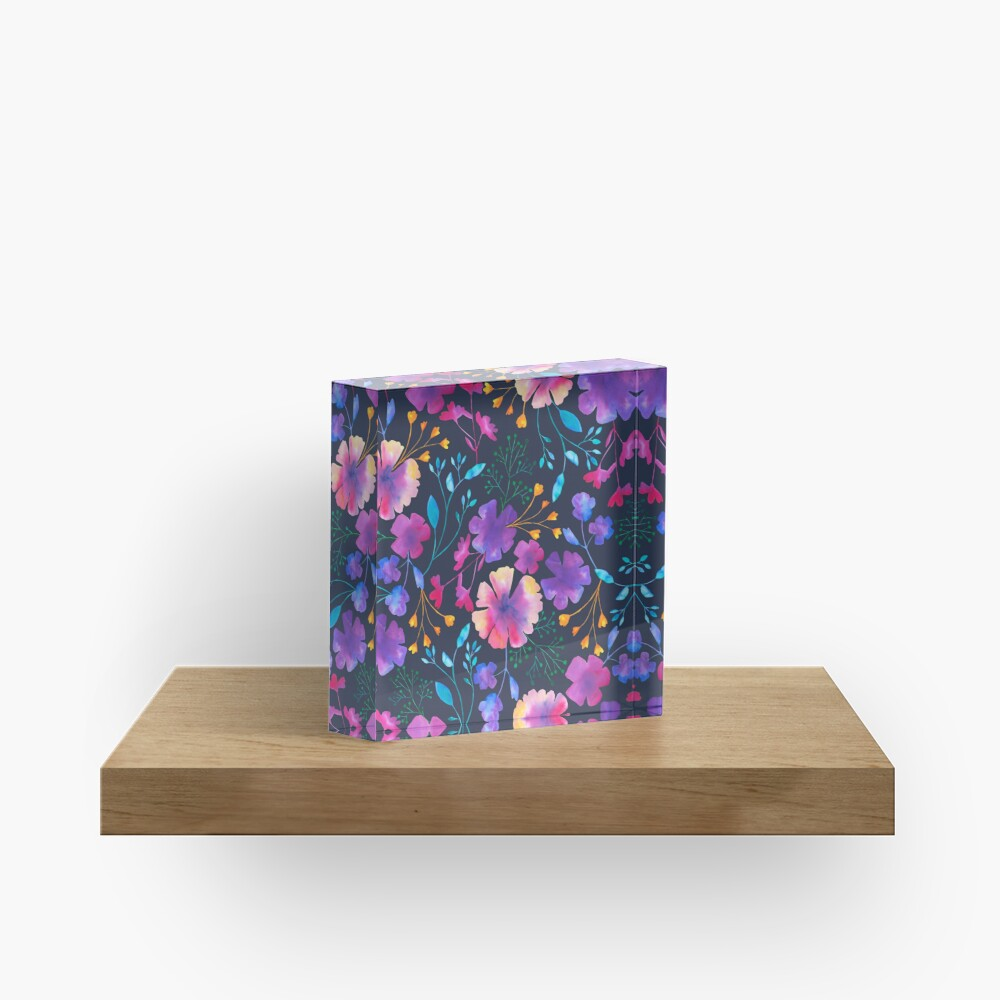 Fluro Floral Watercolour Flower Pattern Acrylic Block