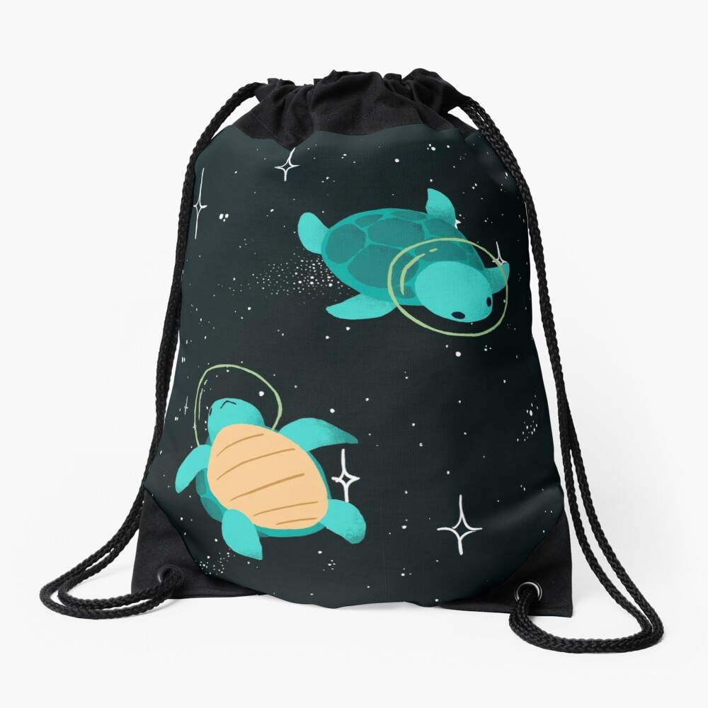 Space Turtles Drawstring Bag