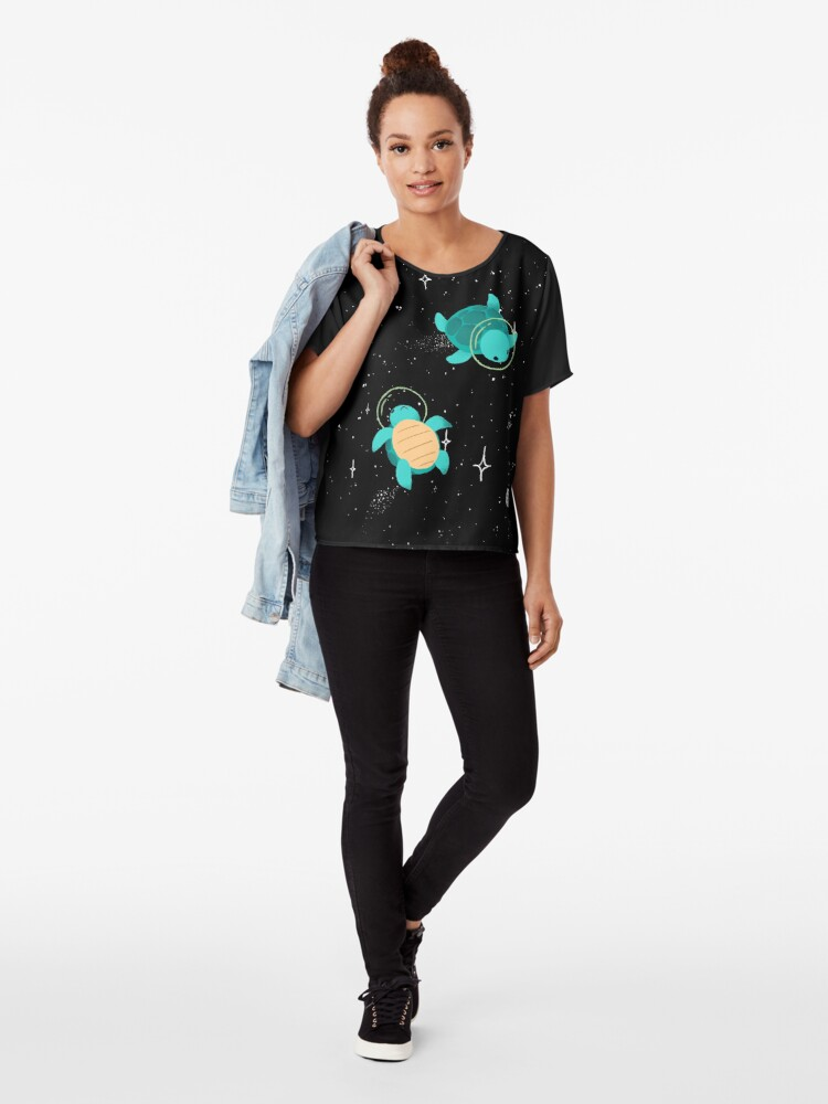 Alternate view of Space Turtles Chiffon Top