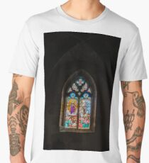 Majestic interior of old medieval church, Bourgogne, France Men's Premium T-Shirt