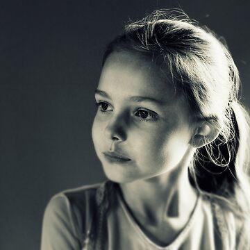 Portrait- Girl in Black & White by Evita