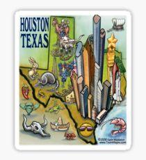Houston Texas Cartoon Map Sticker