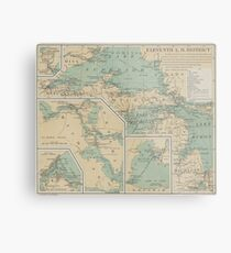 Vintage Great Lakes Lighthouse Map (1898) Metal Print