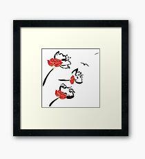 Japanese Style Poppy Flower Framed Print