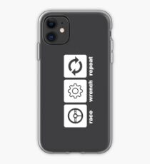 Race-Wrench-Repeat White iPhone Case