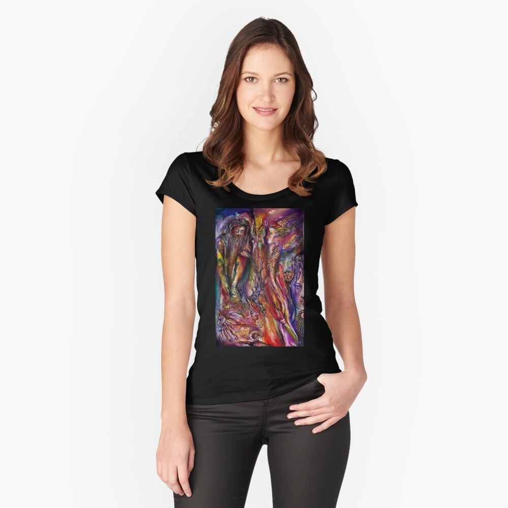 VIVIEN AND MERLIN Pink Purple Blue Fantasy Collection Women's Fitted Scoop T-Shirt Front