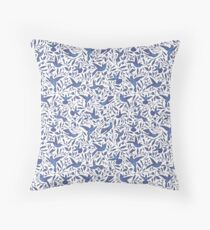 Delft Blue Humming Birds & Leaves Pattern Throw Pillow