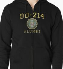 DD-214 U.S. Army Alumni Shirt for a Retired Hero Insignia/Seal Distressed Zipped Hoodie