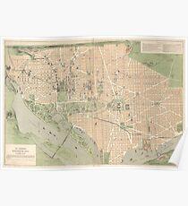 Vintage Map of Washington DC (1892) Poster