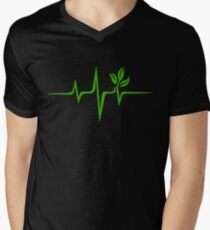 Heartbeat, Pulse Green, Vegan, Frequency, Wave, Earth, Planet V-Neck T-Shirt